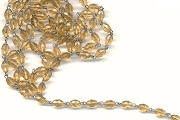 VINTAGE Faceted Golden Topaz Crystal and Silver Chain by the Inch