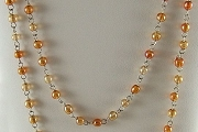 Orange Aurora Borealis Mixed Bead (2 Sizes) Glass Rosary Chain