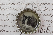 Darling Close-Up Kitty Cat Charm Made from a Bottle Cap