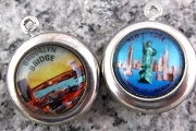 Statue of Liberty & Brooklyn Bridge, New York City Reversible Charm