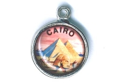 Domed Photographic Cairo Charm (Sterling Silver-Plated)
