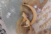 Wooden Cat in the Moon Charm