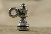 Tiny Silvery Chess King Charm