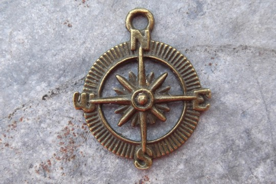 Vintage Style Antiqued Bronze Compass Rose Charm or Pendant