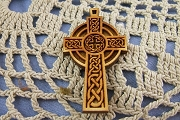 Laser Cut Baltic Birch Wooden Celtic Cross Charm