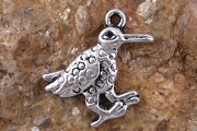 Antiqued Silver Silly Crow Charm