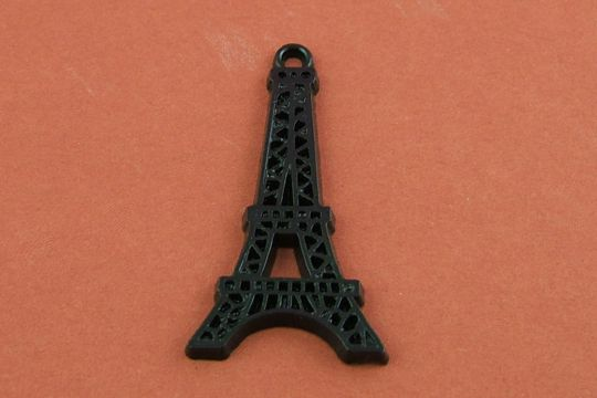 Large Cellulose Jet Black Eiffel Tower Charm