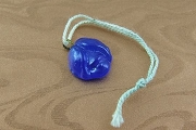 Vintage Pressed Cobalt Blue Glass Charm - Rose