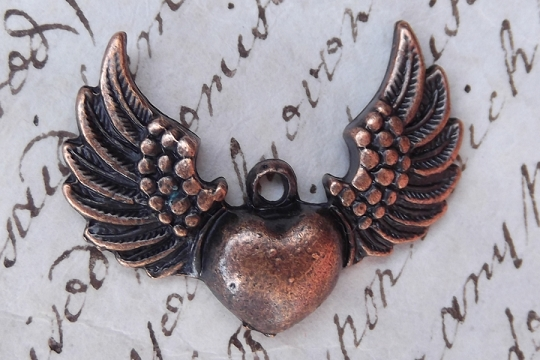 Antiqued Copper Flying Heart Charm
