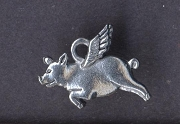 Silvery Pig with Wings Charm