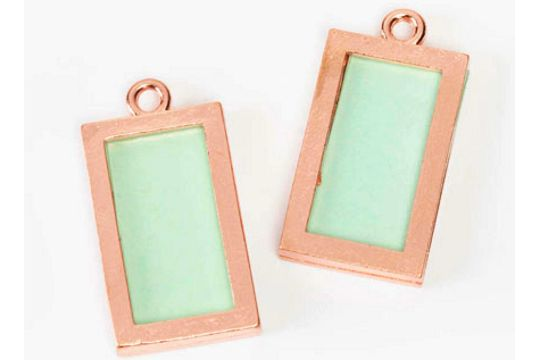 BRIGHT Copper Slotted Rectangle Charm Frame