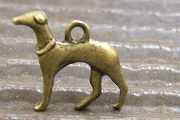 New Antiqued Bronze Greyhound Charm