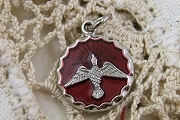 Round Silver & Red Epoxy Holy Ghost Charm or Medal