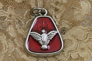 Trapezoid Silver & Red Epoxy Holy Ghost Charm or Medal
