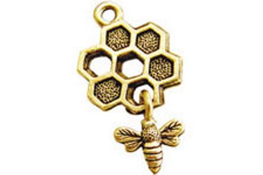 Golden Honeycomb Charm with Flying Bee