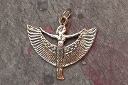 Small Gold Plated Standing ISIS Pendant or Charm