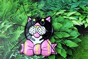 Large Vintage Wooden Kitschy Kitty Cat Charm