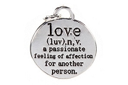 Silvery Love Definition Charm