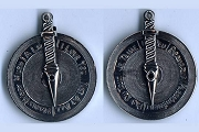 Antiqued Silvery Love Dial Pendant in French and English