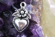 Silvery Milagro Heart and Flower Charm