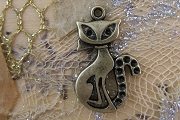 Antiqued Bronze Retro Kitty Cat Charm