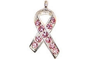 Crystal Ribbon Charm - Breast Cancer Awareness