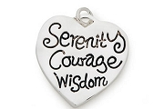 Silver Plated Heart Charm: Serenity - Courage - Wisdom