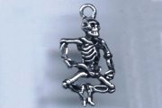 Silvery Dancing Skeleton Charm