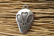 Artist Created White Bronze Sugar Skull Heart Charm