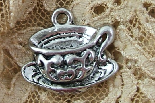 Antiqued Silvery Fancy Tea Cup Charm