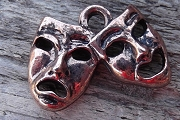 Antiqued Copper Plated Tragedy and Comedy Masks Charm