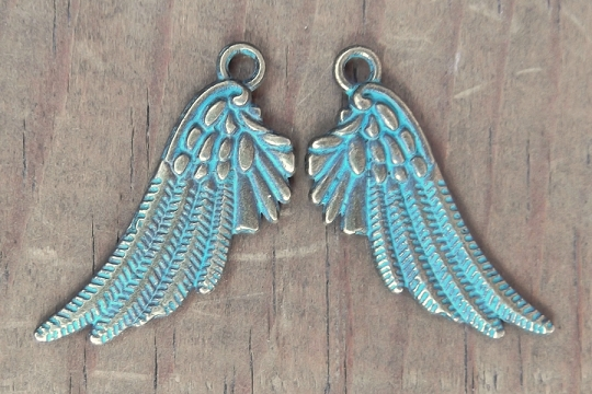 Reversible Patinaed Wing Charm