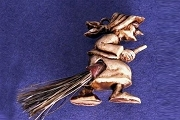 Vintage Plastic Witch Charm with Fibre Broom