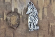 Wolf in Contemplative Mood Silvery Charm