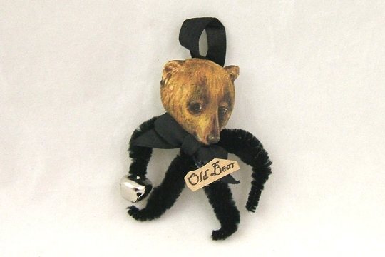 Old Fashioned Chenille Ornament - BLACK Bear - Old Bear