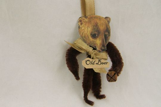 Old Fashioned Chenille Ornament - Brown Bear - Old Bear