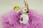 Old Fashioned Chenille Ornament: White Bunny on Chick Stick (Easter Tidings)