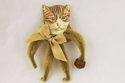 Old Fashioned Chenille Ornament - Tan Cat with a Bell