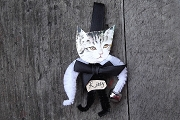 Old Fashioned Chenille Ornament - Black Kitty with White Arms Hold a Bell
