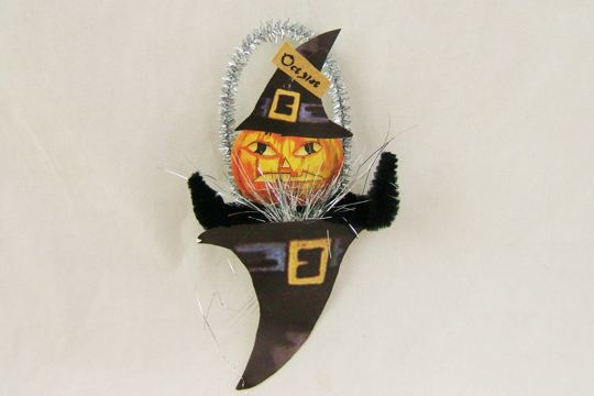 Pumpkin in a Hat Old Fashioned Chenille Ornament