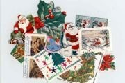 Grabbag of 35 or More Vintage Christmas Postage, Seals, Decorative Stickers and Tags