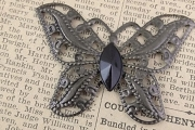 Lovely Butterfly with Vintage Jet Crystal Black Center