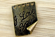 Antiqued Bronze I Love You Notebook Page Jewelry Component