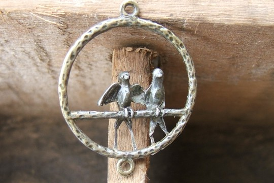 Antiqued Bronze Perched Birds Component