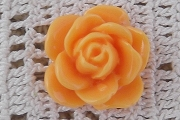 Orange Plastic Rose Cabochon