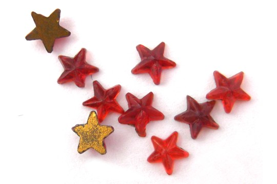 Tiny Vintage Red Glass Star Comnponent