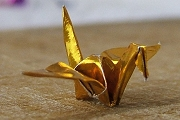 Teensy Gold Metallic Origami Crane