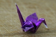 Teensy Royal Purple Metallic Origami Crane