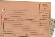 Package of 3 Sets of Vintage Credit Memos (6 Sheets Total)