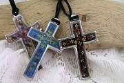 Elegant Pewter and Resin Cross Featuring Real Dried Flowers - in 3 Colors